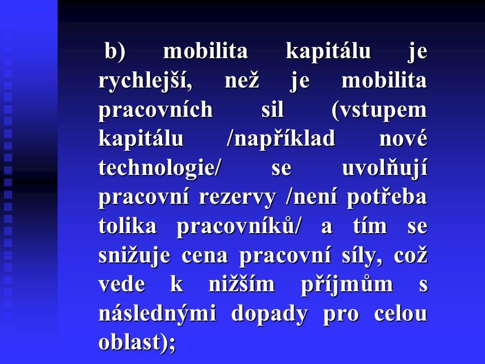 b) mobilita kapitálu je rychlejší, než je mobilita pracovních sil (vstupem kapitálu /například nové technologie/ se uvolňují pracovní rezervy /není po