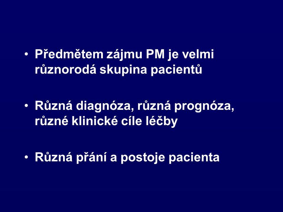Předmětem zájmu PM je velmi různorodá skupina pacientů Různá diagnóza, různá prognóza, různé klinické cíle léčby Různá přání a postoje pacienta