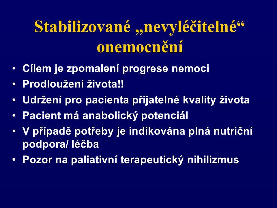 """Stabilizované """"nevyléčitelné onemocnění Cílem je zpomalení progrese nemoci Prodloužení života!."""