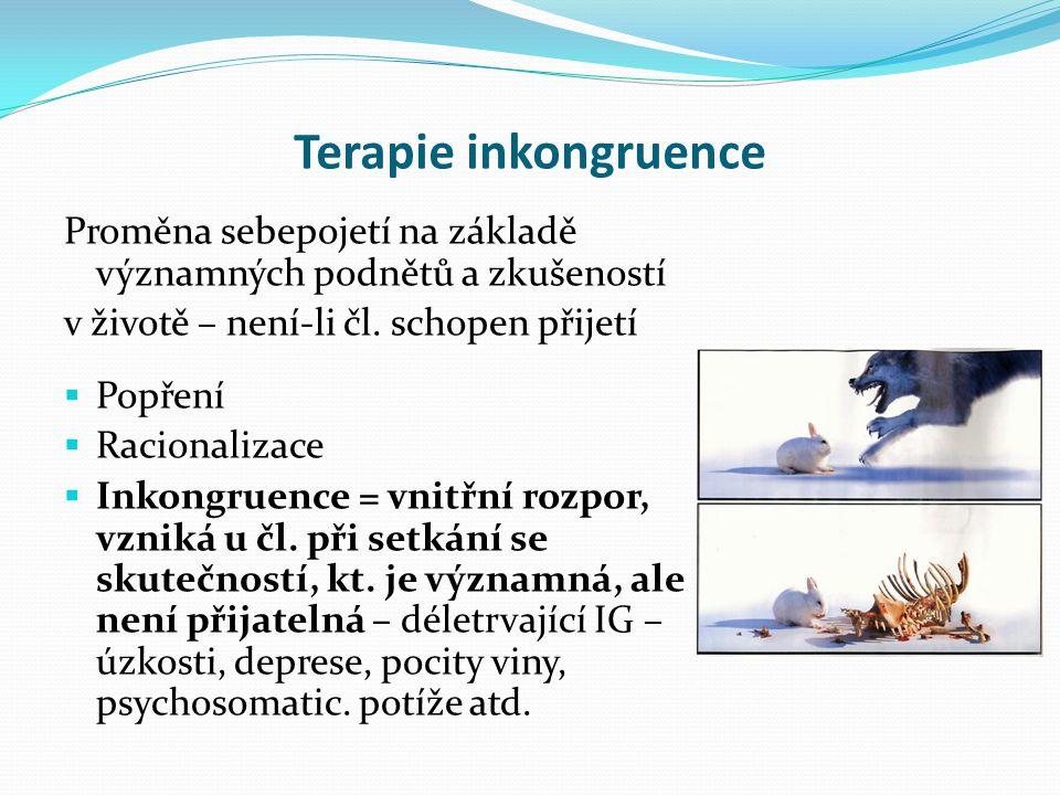 Terapie inkongruence Proměna sebepojetí na základě významných podnětů a zkušeností v životě – není-li čl. schopen přijetí  Popření  Racionalizace 