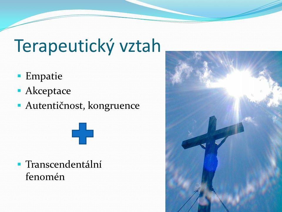 Terapeutický vztah  Empatie  Akceptace  Autentičnost, kongruence  Transcendentální fenomén