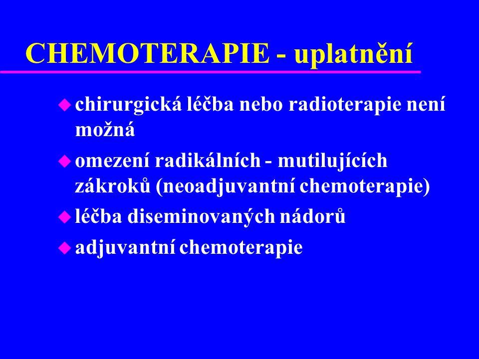 CHEMOTERAPIE - uplatnění u chirurgická léčba nebo radioterapie není možná u omezení radikálních - mutilujících zákroků (neoadjuvantní chemoterapie) u léčba diseminovaných nádorů u adjuvantní chemoterapie