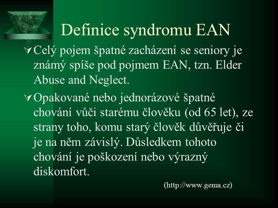 Definice syndromu EAN  Celý pojem špatné zacházení se seniory je známý spíše pod pojmem EAN, tzn. Elder Abuse and Neglect.  Opakované nebo jednorázo
