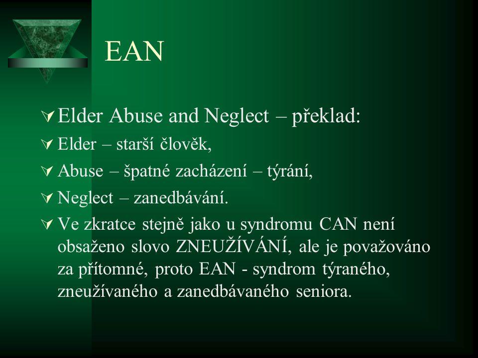 EAN  Elder Abuse and Neglect – překlad:  Elder – starší člověk,  Abuse – špatné zacházení – týrání,  Neglect – zanedbávání.  Ve zkratce stejně ja