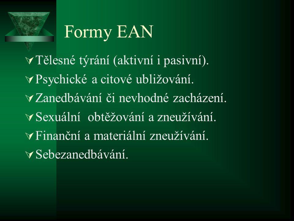 Formy EAN  Tělesné týrání (aktivní i pasivní).  Psychické a citové ubližování.  Zanedbávání či nevhodné zacházení.  Sexuální obtěžování a zneužívá