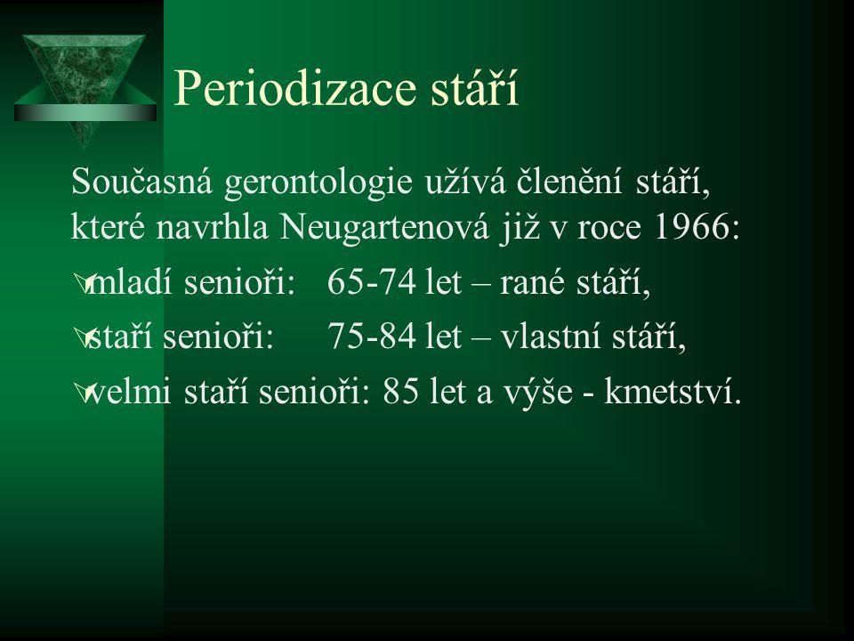 Periodizace stáří Současná gerontologie užívá členění stáří, které navrhla Neugartenová již v roce 1966:  mladí senioři:65-74 let – rané stáří,  sta