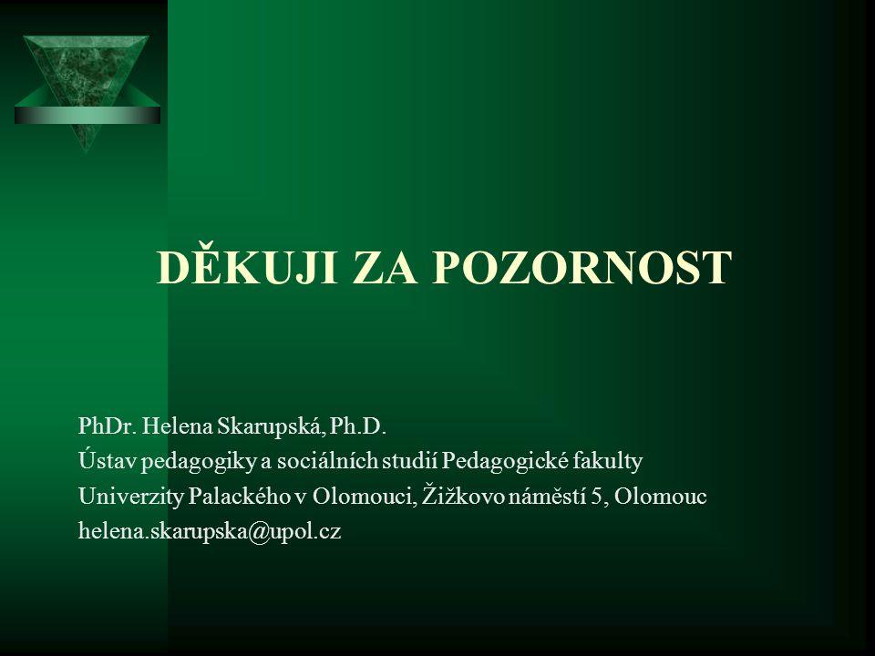 DĚKUJI ZA POZORNOST PhDr. Helena Skarupská, Ph.D. Ústav pedagogiky a sociálních studií Pedagogické fakulty Univerzity Palackého v Olomouci, Žižkovo ná