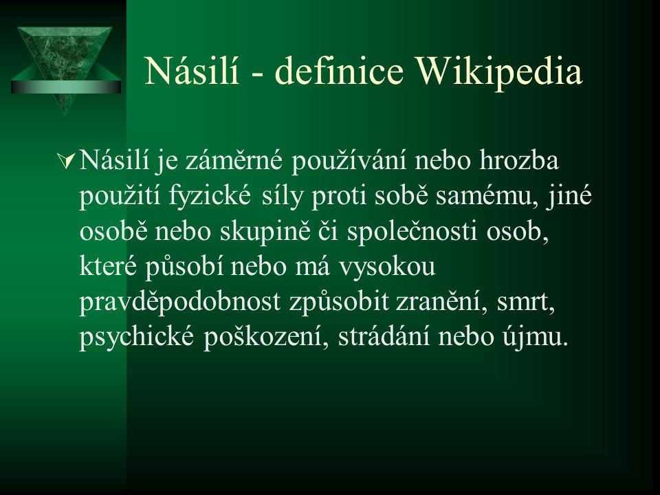Násilí - definice Wikipedia  Násilí je záměrné používání nebo hrozba použití fyzické síly proti sobě samému, jiné osobě nebo skupině či společnosti o