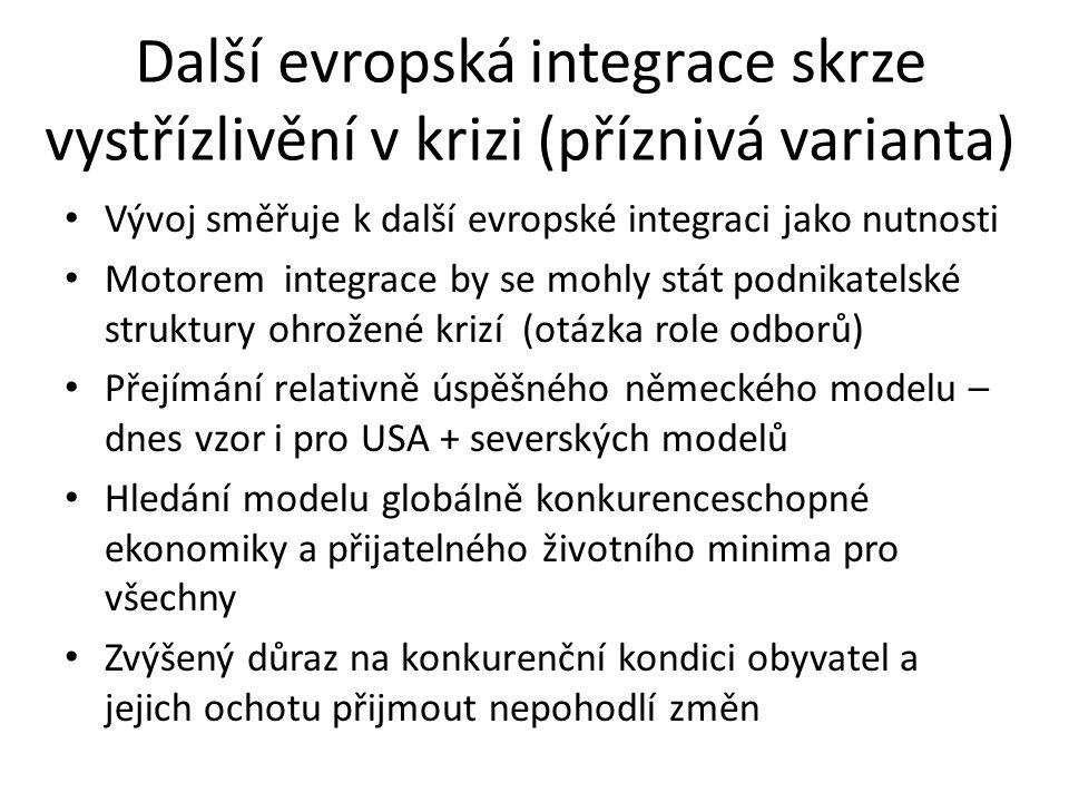 Další evropská integrace skrze vystřízlivění v krizi (příznivá varianta) Vývoj směřuje k další evropské integraci jako nutnosti Motorem integrace by s