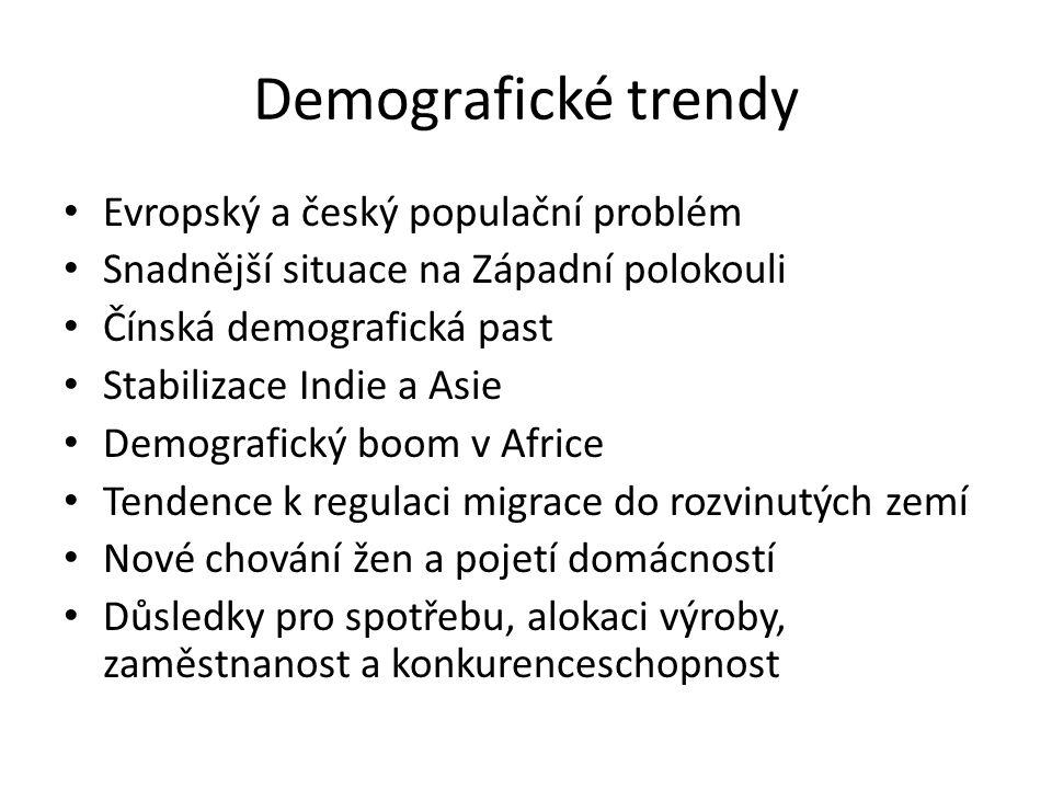 Demografické trendy Evropský a český populační problém Snadnější situace na Západní polokouli Čínská demografická past Stabilizace Indie a Asie Demogr