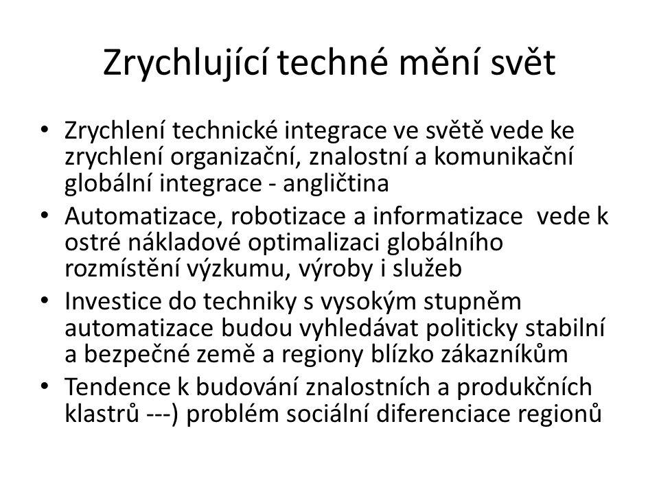Zrychlující techné mění svět Zrychlení technické integrace ve světě vede ke zrychlení organizační, znalostní a komunikační globální integrace - anglič