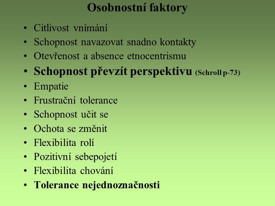 Osobnostní faktory Citlivost vnímání Schopnost navazovat snadno kontakty Otevřenost a absence etnocentrismu Schopnost převzít perspektivu (Schroll p-7