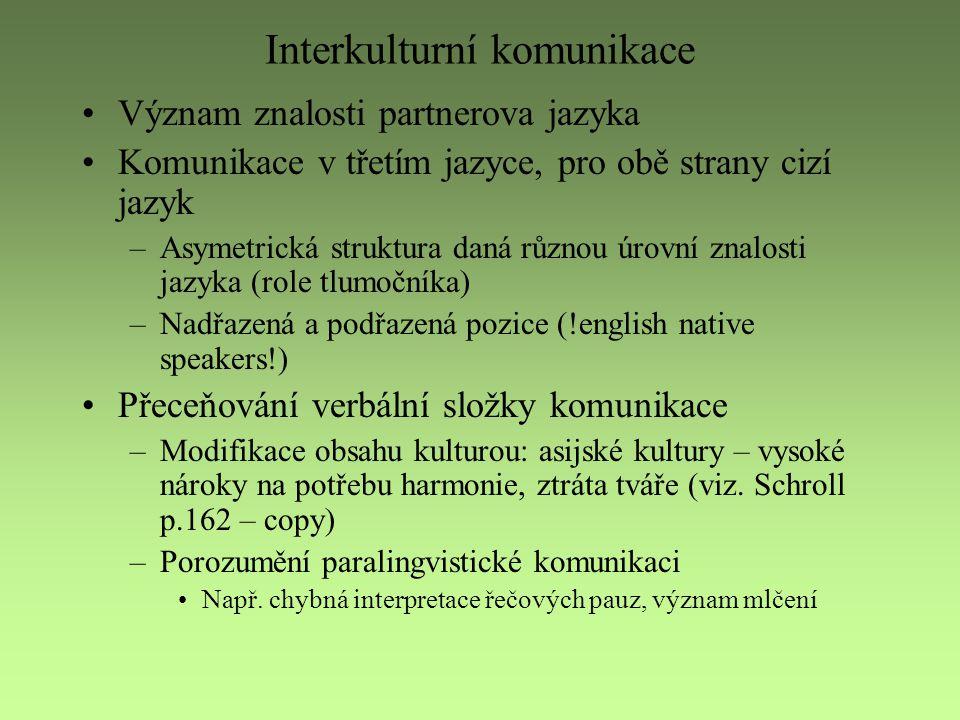 Interkulturní komunikace Význam znalosti partnerova jazyka Komunikace v třetím jazyce, pro obě strany cizí jazyk –Asymetrická struktura daná různou úr