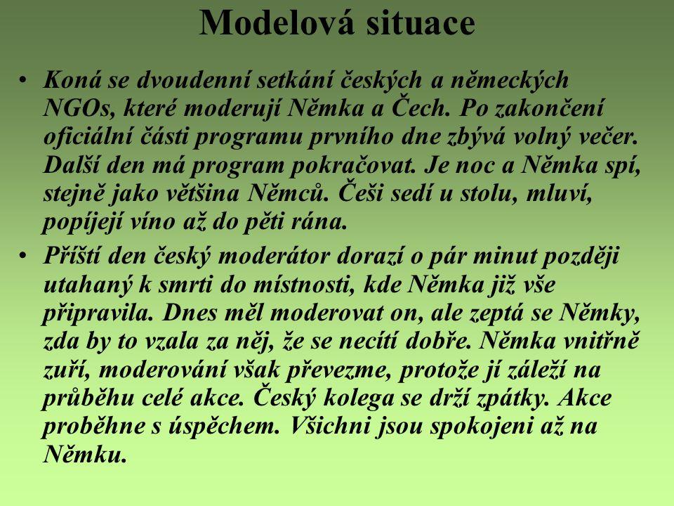 Modelová situace Koná se dvoudenní setkání českých a německých NGOs, které moderují Němka a Čech. Po zakončení oficiální části programu prvního dne zb