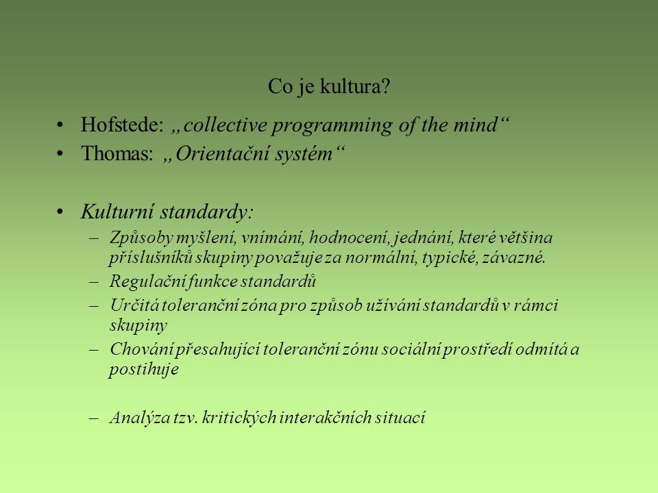 """Co je kultura? Hofstede: """"collective programming of the mind"""" Thomas: """"Orientační systém"""" Kulturní standardy: –Způsoby myšlení, vnímání, hodnocení, je"""