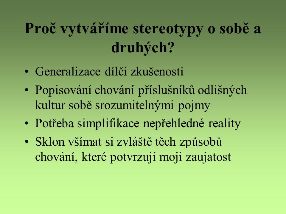 Proč vytváříme stereotypy o sobě a druhých? Generalizace dílčí zkušenosti Popisování chování příslušníků odlišných kultur sobě srozumitelnými pojmy Po