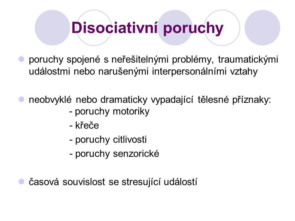 Disociativní poruchy poruchy spojené s neřešitelnými problémy, traumatickými událostmi nebo narušenými interpersonálními vztahy neobvyklé nebo dramati
