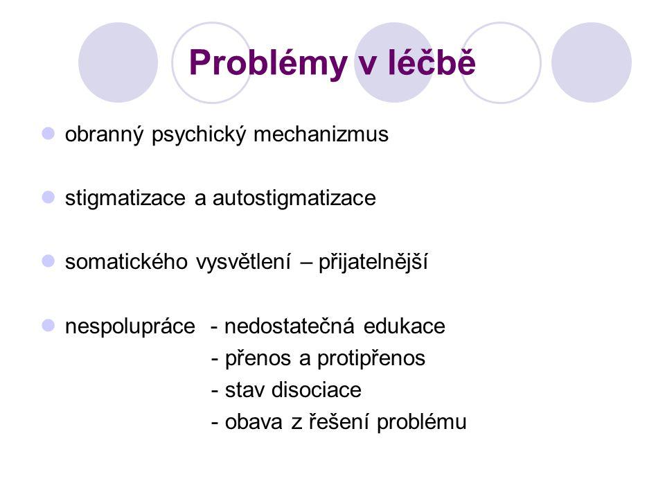 Problémy v léčbě obranný psychický mechanizmus stigmatizace a autostigmatizace somatického vysvětlení – přijatelnější nespolupráce - nedostatečná eduk