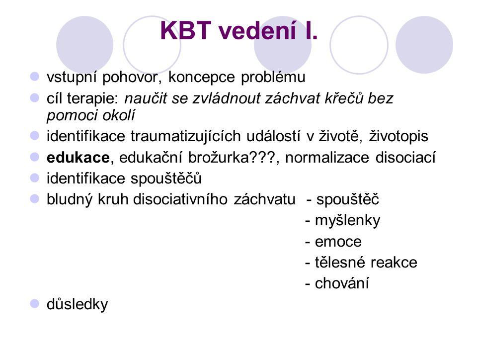 KBT vedení I. vstupní pohovor, koncepce problému cíl terapie: naučit se zvládnout záchvat křečů bez pomoci okolí identifikace traumatizujících událost