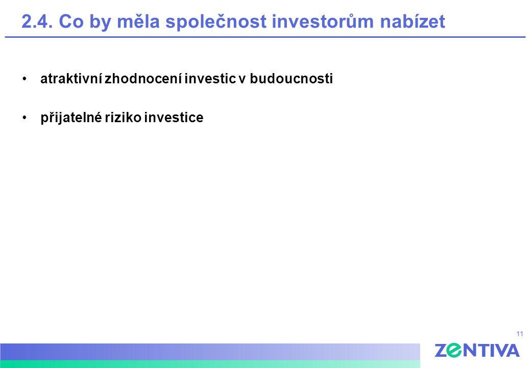 11 2.4. Co by měla společnost investorům nabízet atraktivní zhodnocení investic v budoucnosti přijatelné riziko investice