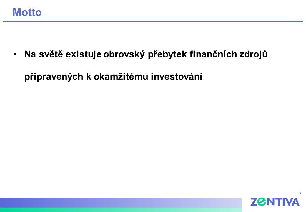 2 Motto Na světě existuje obrovský přebytek finančních zdrojů připravených k okamžitému investování