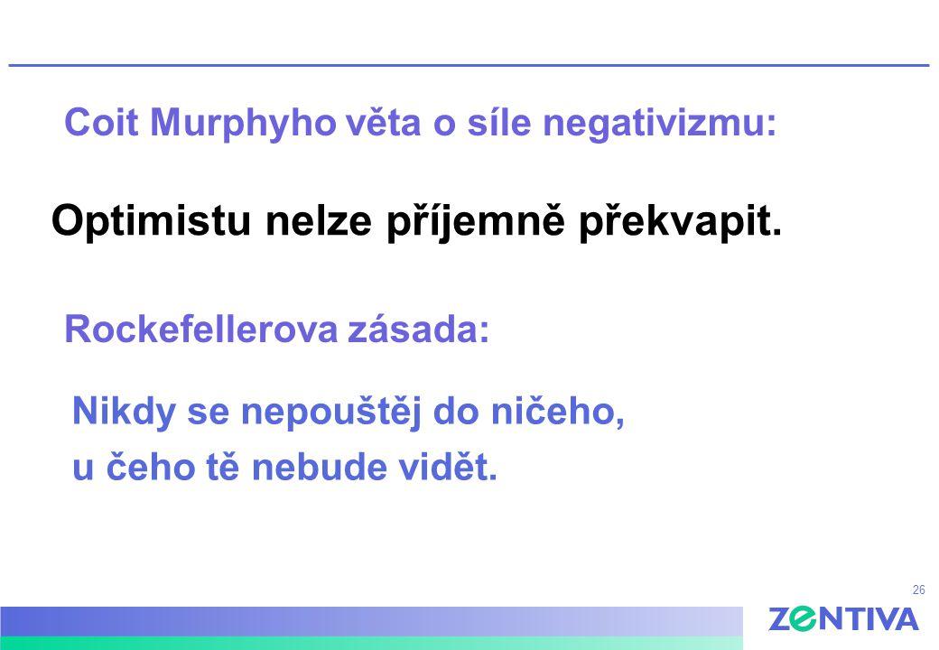 26 Coit Murphyho věta o síle negativizmu: Optimistu nelze příjemně překvapit. Rockefellerova zásada: Nikdy se nepouštěj do ničeho, u čeho tě nebude vi