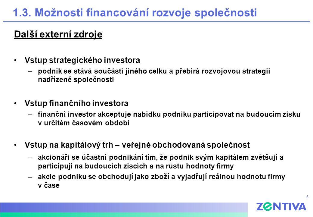 6 1.3. Možnosti financování rozvoje společnosti Další externí zdroje Vstup strategického investora –podnik se stává součástí jiného celku a přebírá ro
