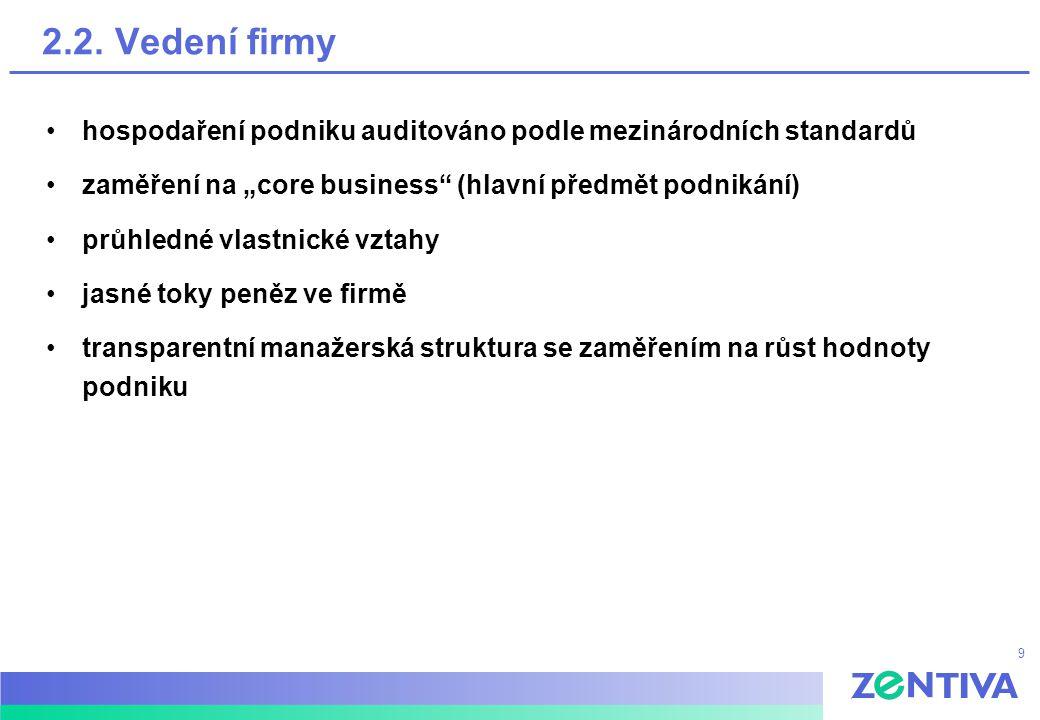 """9 2.2. Vedení firmy hospodaření podniku auditováno podle mezinárodních standardů zaměření na """"core business"""" (hlavní předmět podnikání) průhledné vlas"""