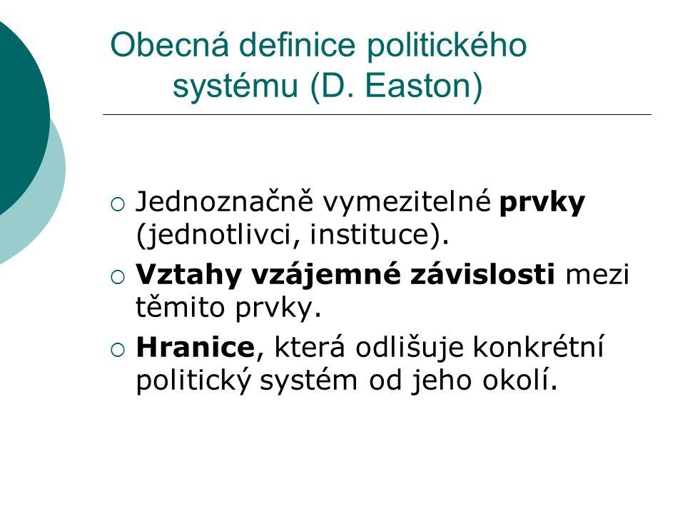 Obecná definice politického systému (D. Easton)  Jednoznačně vymezitelné prvky (jednotlivci, instituce).  Vztahy vzájemné závislosti mezi těmito prv
