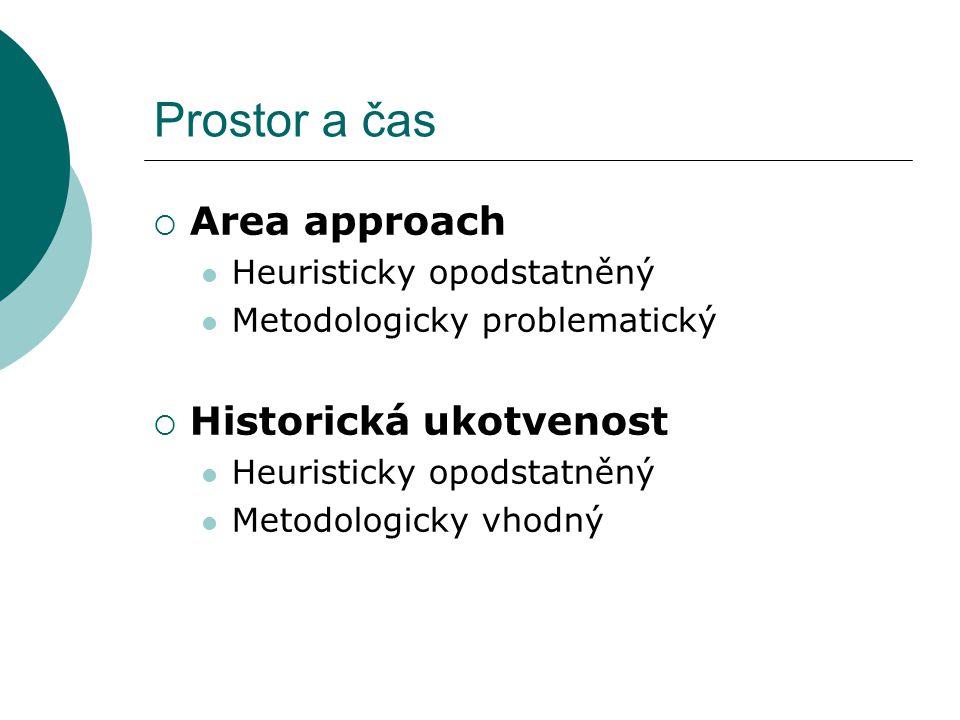 Prostor a čas  Area approach Heuristicky opodstatněný Metodologicky problematický  Historická ukotvenost Heuristicky opodstatněný Metodologicky vhod