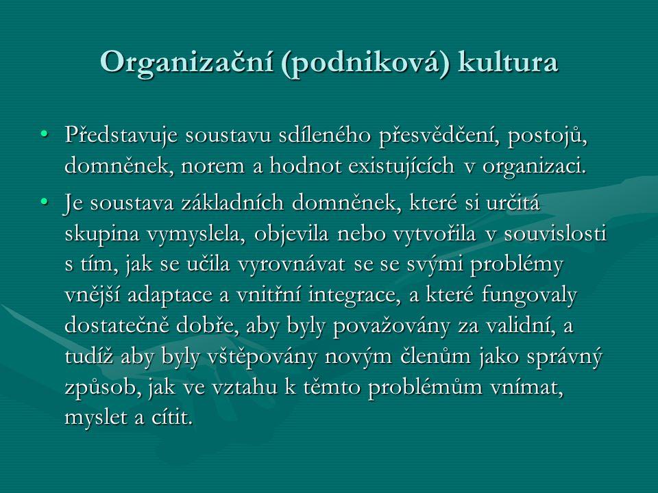 Organizační (podniková) kultura Představuje soustavu sdíleného přesvědčení, postojů, domněnek, norem a hodnot existujících v organizaci.Představuje so