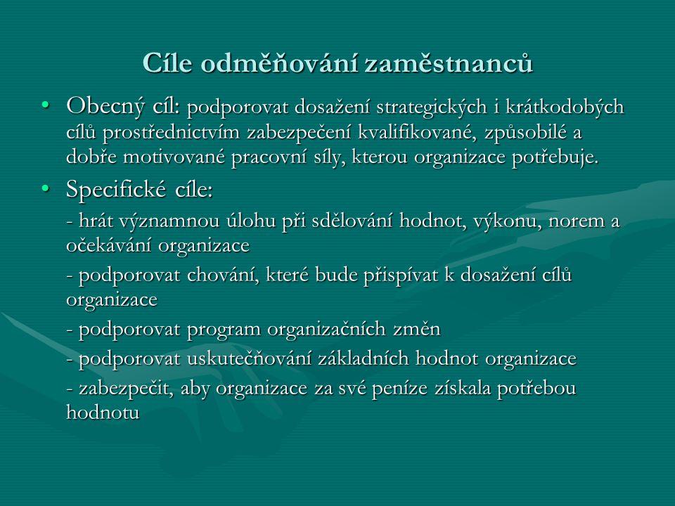 Cíle odměňování zaměstnanců Obecný cíl: podporovat dosažení strategických i krátkodobých cílů prostřednictvím zabezpečení kvalifikované, způsobilé a d