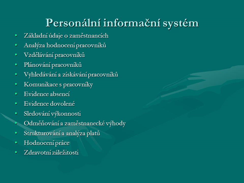 Personální informační systém Základní údaje o zaměstnancíchZákladní údaje o zaměstnancích Analýza hodnocení pracovníkůAnalýza hodnocení pracovníků Vzd