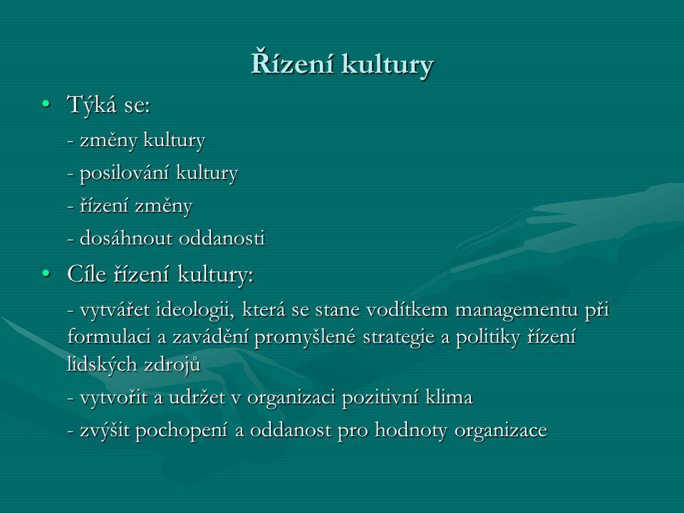 Řízení kultury Týká se:Týká se: - změny kultury - posilování kultury - řízení změny - dosáhnout oddanosti Cíle řízení kultury:Cíle řízení kultury: - v