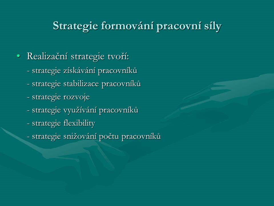 Strategie formování pracovní síly Realizační strategie tvoří:Realizační strategie tvoří: - strategie získávání pracovníků - strategie stabilizace prac