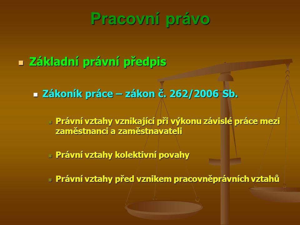 Pracovní právo Základní právní předpis Základní právní předpis Zákoník práce – zákon č. 262/2006 Sb. Zákoník práce – zákon č. 262/2006 Sb. Právní vzta