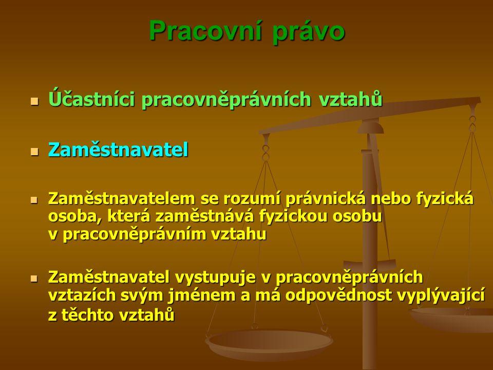 Pracovní právo Účastníci pracovněprávních vztahů Účastníci pracovněprávních vztahů Zaměstnavatel Zaměstnavatel Zaměstnavatelem se rozumí právnická neb