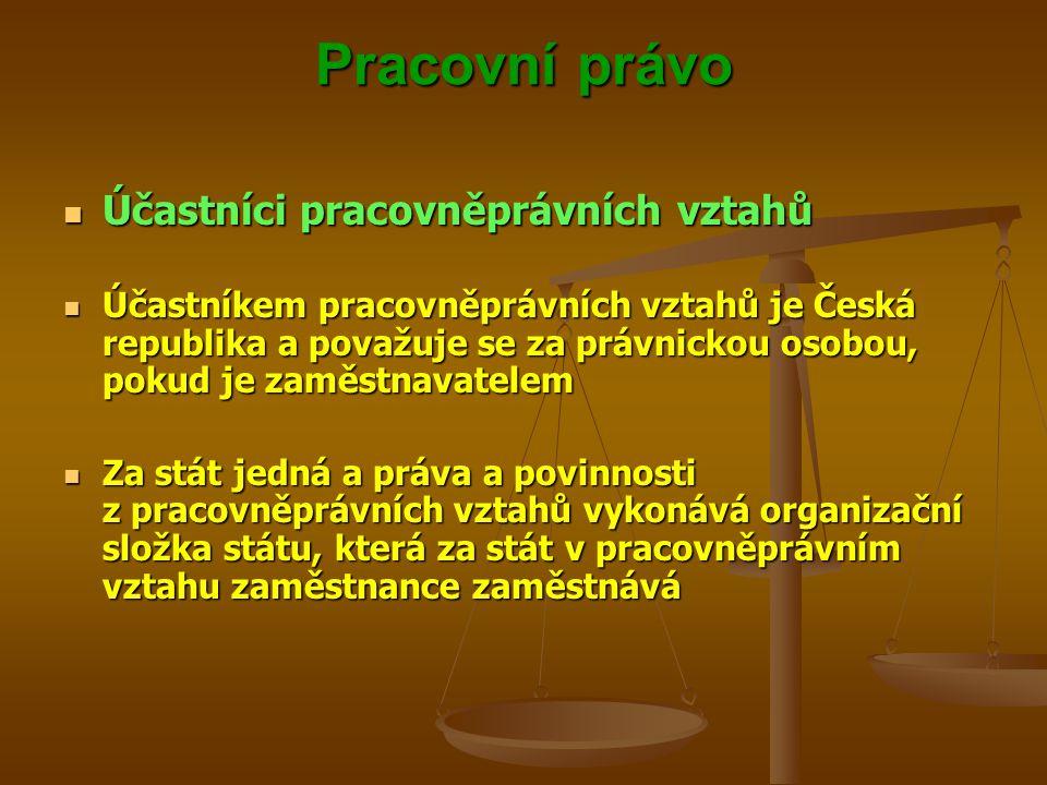 Pracovní právo Účastníci pracovněprávních vztahů Účastníci pracovněprávních vztahů Účastníkem pracovněprávních vztahů je Česká republika a považuje se