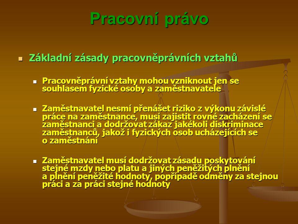 Pracovní právo Základní zásady pracovněprávních vztahů Základní zásady pracovněprávních vztahů Pracovněprávní vztahy mohou vzniknout jen se souhlasem