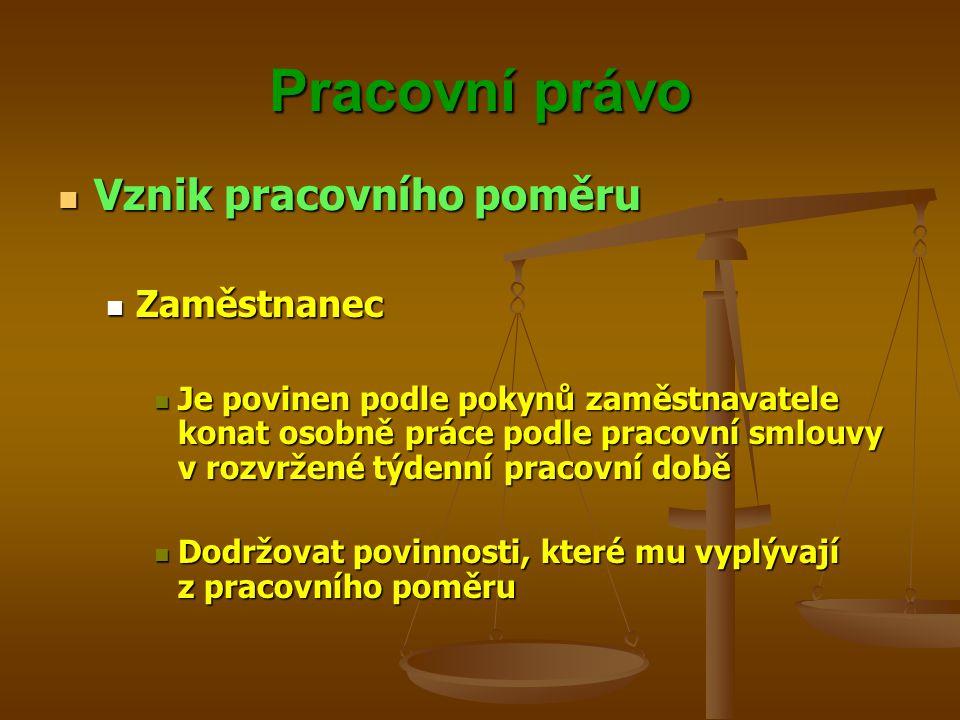 Pracovní právo Vznik pracovního poměru Vznik pracovního poměru Zaměstnanec Zaměstnanec Je povinen podle pokynů zaměstnavatele konat osobně práce podle