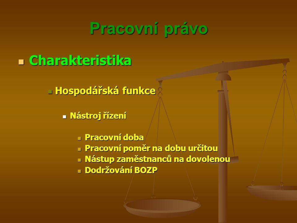 Pracovní právo Vznik pracovního poměru Vznik pracovního poměru Se zakládá pracovní smlouvou mezi zaměstnavatelem a zaměstnancem, není-li v zákoně stanoveno jinak Se zakládá pracovní smlouvou mezi zaměstnavatelem a zaměstnancem, není-li v zákoně stanoveno jinak Pokud právní předpis nebo stanovy vyžadují, aby se obsazení pracovního místa uskutečnilo na základě volby příslušným orgánem, považuje se zvolení za předpoklad, který předchází sjednání pracovní smlouvy Pokud právní předpis nebo stanovy vyžadují, aby se obsazení pracovního místa uskutečnilo na základě volby příslušným orgánem, považuje se zvolení za předpoklad, který předchází sjednání pracovní smlouvy Jmenováním se zakládá pracovní poměr pouze u vedoucích organizačních složek státu, vedoucích organizačních jednotek organizačních složek státu, ředitelů státních podniků, vedoucích organizačních jednotek státních podniků, vedoucích státních fondů, jestliže je v jejich čele individuální orgán, vedoucích příspěvkových organizací, vedoucích organizačních jednotek příspěvkových organizací a u ředitelů školské právnické osoby, nestanoví-li zvláštní právní předpis jinak Jmenováním se zakládá pracovní poměr pouze u vedoucích organizačních složek státu, vedoucích organizačních jednotek organizačních složek státu, ředitelů státních podniků, vedoucích organizačních jednotek státních podniků, vedoucích státních fondů, jestliže je v jejich čele individuální orgán, vedoucích příspěvkových organizací, vedoucích organizačních jednotek příspěvkových organizací a u ředitelů školské právnické osoby, nestanoví-li zvláštní právní předpis jinak