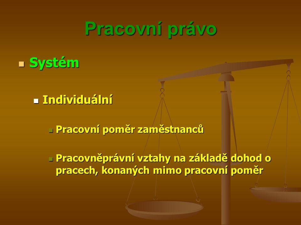 Pracovní právo Systém Systém Kolektivní Kolektivní Právní vztahy mezi orgány, zastupující zaměstnavatele a orgány, zastupující zaměstnance Právní vztahy mezi orgány, zastupující zaměstnavatele a orgány, zastupující zaměstnance Na základě právních norem Na základě právních norem Na základě smluvních ujednání Na základě smluvních ujednání