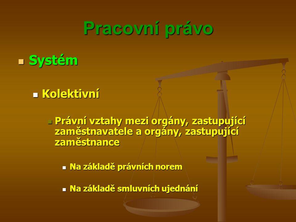 Pracovní právo Systém Systém Kolektivní Kolektivní Právní vztahy mezi orgány, zastupující zaměstnavatele a orgány, zastupující zaměstnance Právní vzta