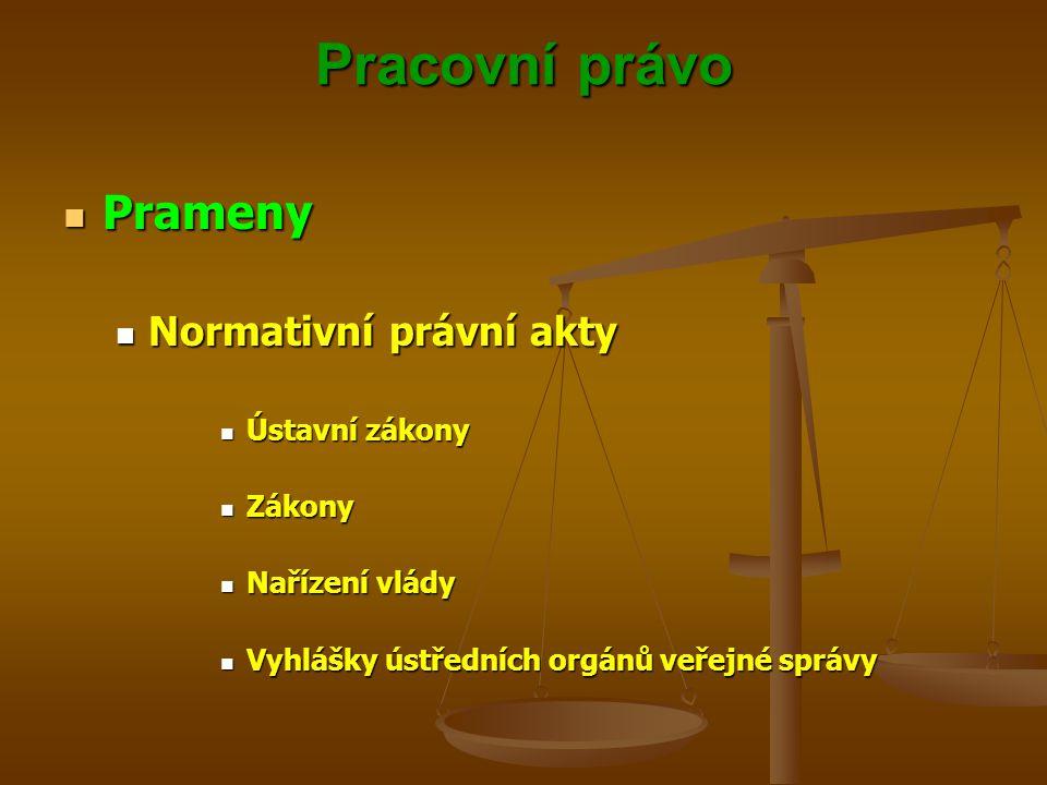 Pracovní právo Prameny Prameny Normativní právní akty Normativní právní akty Ústavní zákony Ústavní zákony Zákony Zákony Nařízení vlády Nařízení vlády