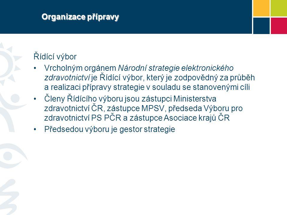 Organizace přípravy Řídící výbor Vrcholným orgánem Národní strategie elektronického zdravotnictví je Řídící výbor, který je zodpovědný za průběh a rea