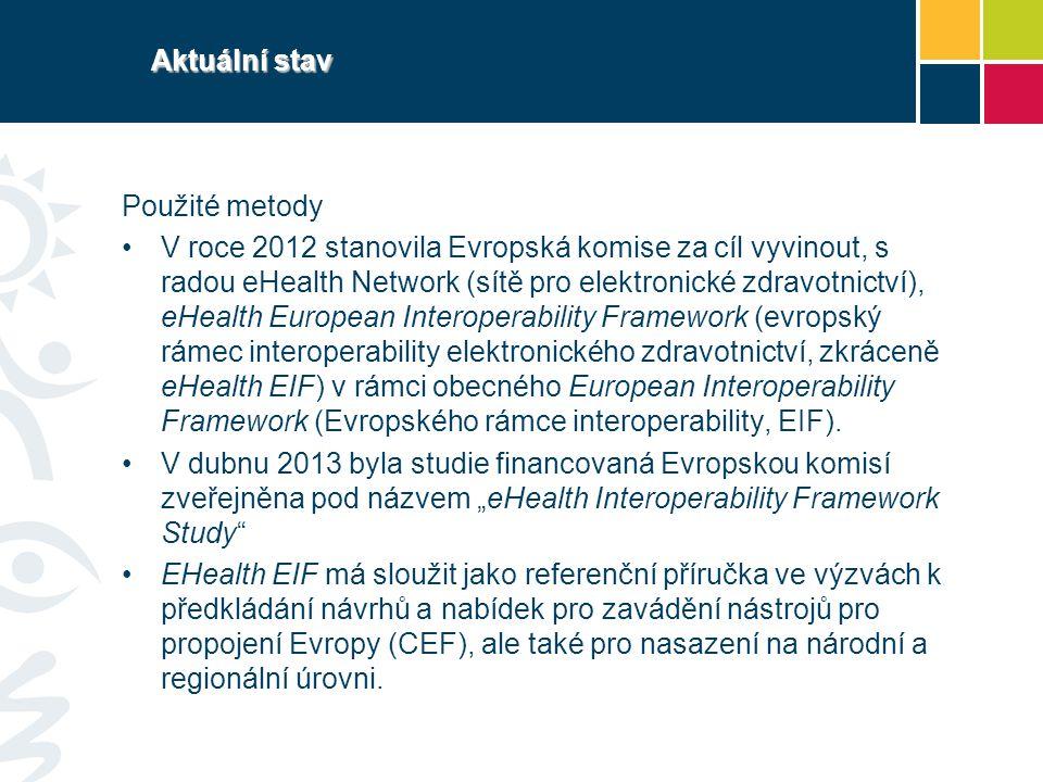 Aktuální stav Použité metody V roce 2012 stanovila Evropská komise za cíl vyvinout, s radou eHealth Network (sítě pro elektronické zdravotnictví), eHe