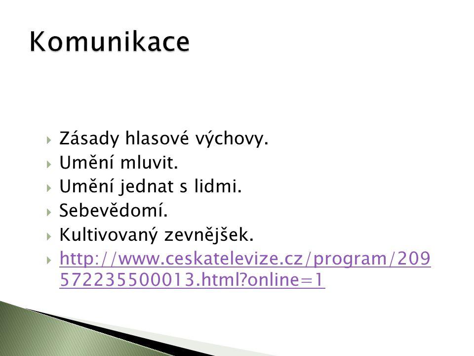  Zásady hlasové výchovy.  Umění mluvit.  Umění jednat s lidmi.  Sebevědomí.  Kultivovaný zevnějšek.  http://www.ceskatelevize.cz/program/209 572