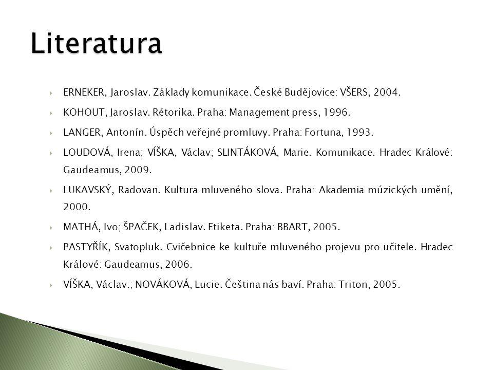  ERNEKER, Jaroslav. Základy komunikace. České Budějovice: VŠERS, 2004.  KOHOUT, Jaroslav. Rétorika. Praha: Management press, 1996.  LANGER, Antonín