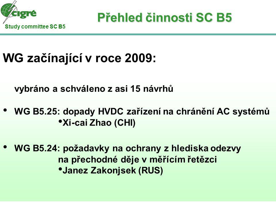 Study committee SC B5 WG začínající v roce 2009: vybráno a schváleno z asi 15 návrhů WG B5.25: dopady HVDC zařízení na chránění AC systémů Xi-cai Zhao