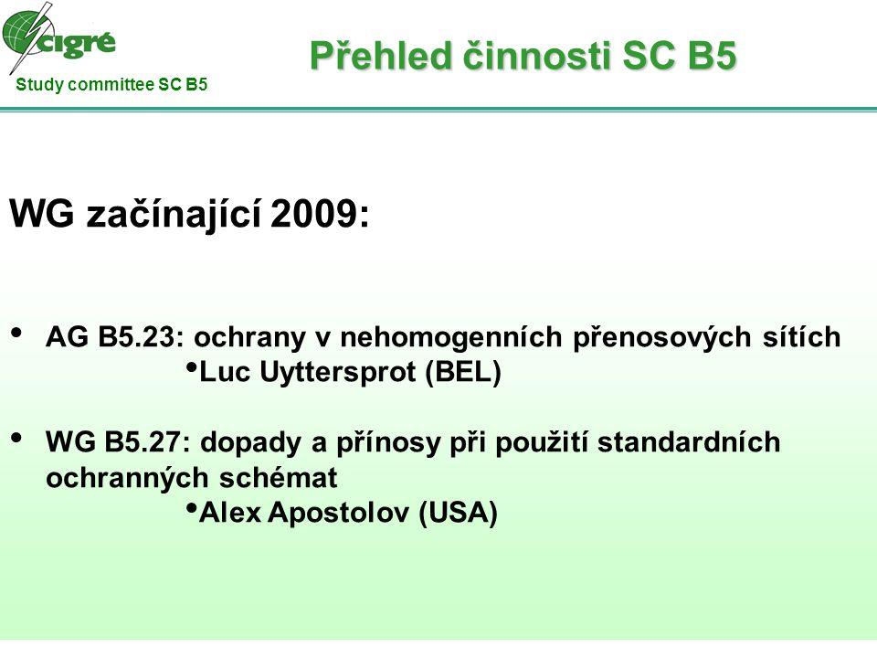 Study committee SC B5 WG začínající 2009: AG B5.23: ochrany v nehomogenních přenosových sítích Luc Uyttersprot (BEL) WG B5.27: dopady a přínosy při po
